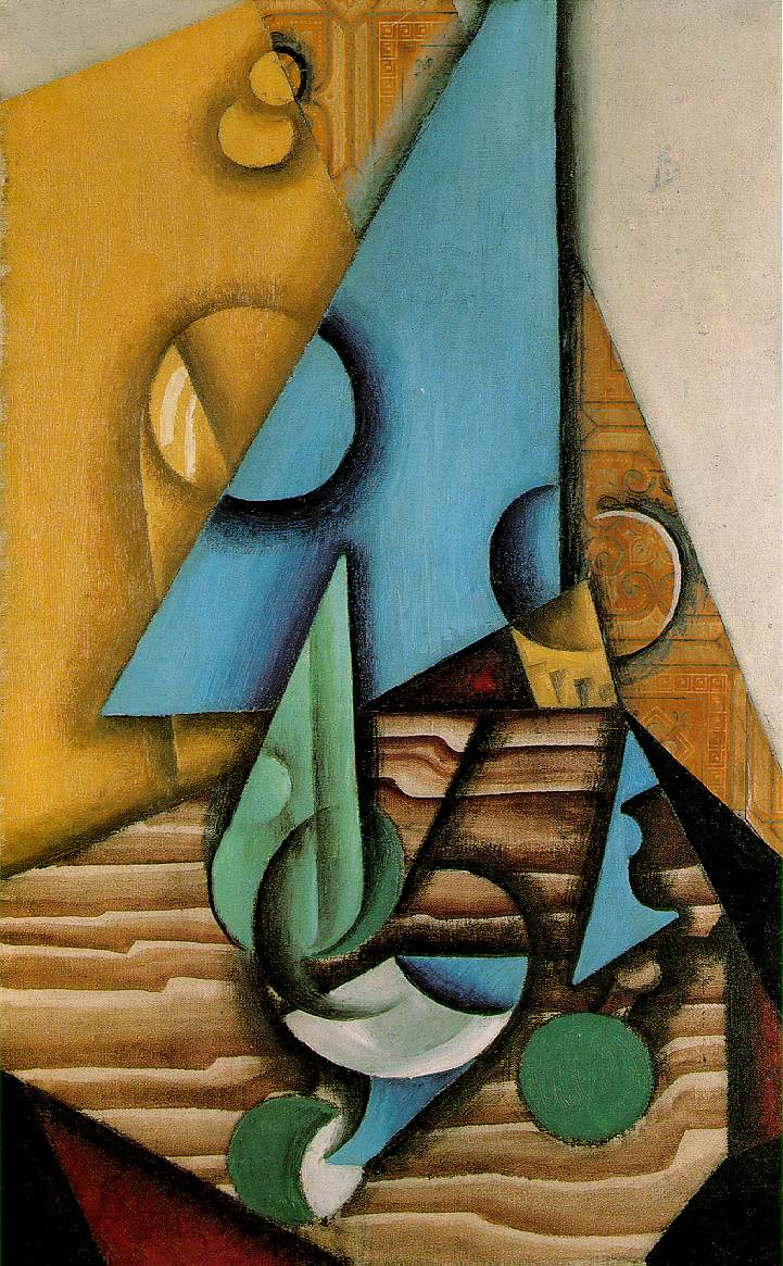 Juan Gris Gris Bottle and glass on a table